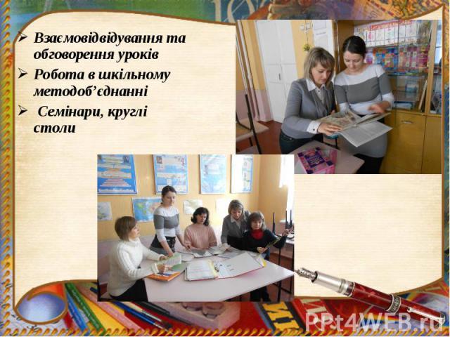 Взаємовідвідування та обговорення уроків Взаємовідвідування та обговорення уроків Робота в шкільному методоб'єднанні Семінари, круглі столи