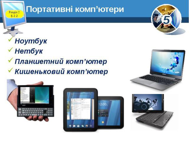 Портативні комп'ютери Ноутбук Нетбук Планшетний комп'ютер Кишеньковий комп'ютер