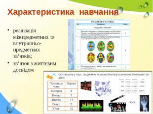 Характеристика навчання реалізація міжпредметних та внутрішньо-предметних зв'язк