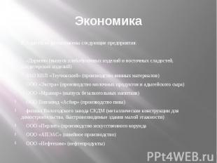 Экономика В Адыгейске расположены следующие предприятия: «Дэрмэн» (выпуск хлебоб