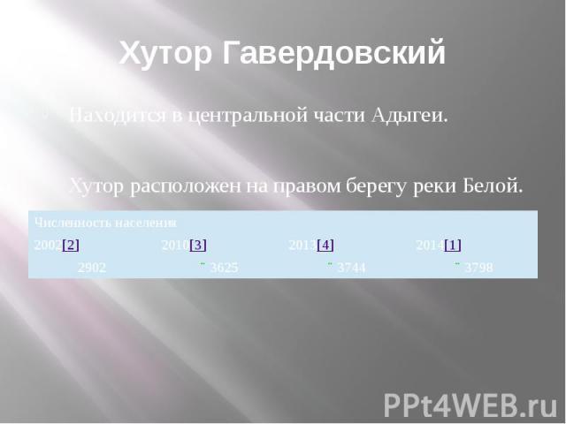 Хутор Гавердовский Находится в центральной части Адыгеи. Хутор расположен на правом берегу реки Белой.