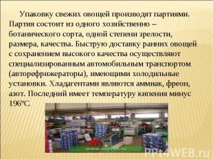 Упаковку свежих овощей производят партиями. Партия состоит из одного хозяйственн