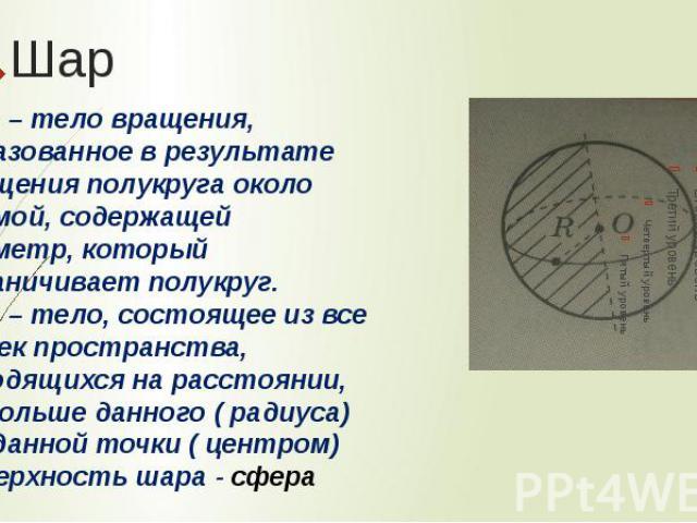 ШарШар – тело вращения, образованное в результате вращения полукруга около прямой, содержащей диаметр, который ограничивает полукруг. Шар – тело, состоящее из все точек пространства, находящихся на расстоянии, не больше данного ( радиуса) от данной …