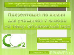 МБОУ –Раздольненская средняя общеобразовательная школа №19 Новосибирского района