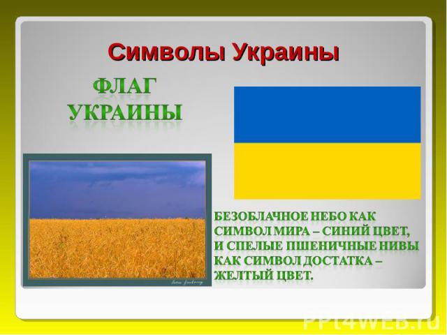 Символы Украины Флаг Украины Безоблачное небо как символ мира – синий цвет, и спелые пшеничные нивы как символ достатка – желтый цвет.