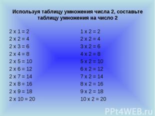 Используя таблицу умножения числа 2, составьте таблицу умножения на число 2 2 х