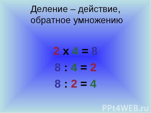 Деление – действие, обратное умножению 2 х 4 = 8 8 : 4 = 2 8 : 2 = 4