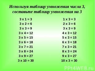 Используя таблицу умножения числа 3, составьте таблицу умножения на 3 3 х 1 = 3