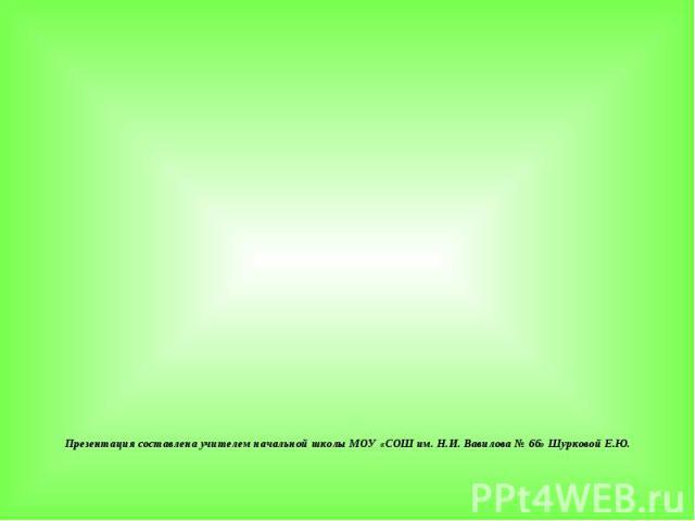 Презентация составлена учителем начальной школы МОУ «СОШ им. Н.И. Вавилова № 66» Шурковой Е.Ю.