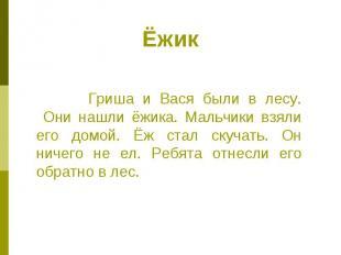 Ёжик Гриша и Вася были в лесу. Они нашли ёжика. Мальчики взяли его домой. Ёж ста