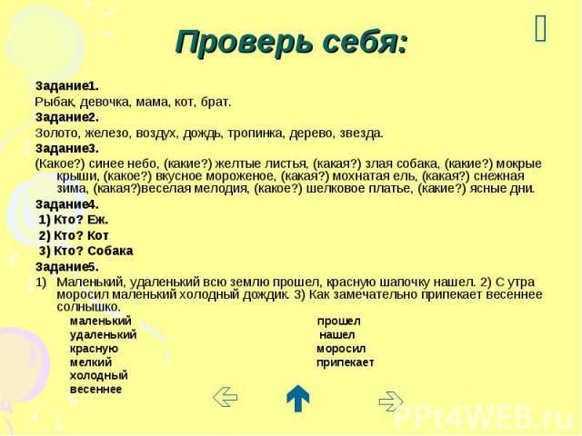 Проверь себя: Задание1. Рыбак, девочка, мама, кот, брат. Задание2. Золото, железо, воздух, дождь, тропинка, дерево, звезда. Задание3. (Какое?) синее небо, (какие?) желтые листья, (какая?) злая собака, (какие?) мокрые крыши, (какое?) вкусное морожено…