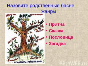 Назовите родственные басне жанры Притча Сказка Пословица Загадка