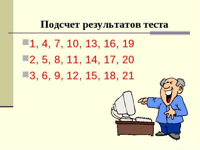 Подсчет результатов теста 1, 4, 7, 10, 13, 16, 19 2, 5, 8, 11, 14, 17, 20 3, 6, 9, 12, 15, 18, 21