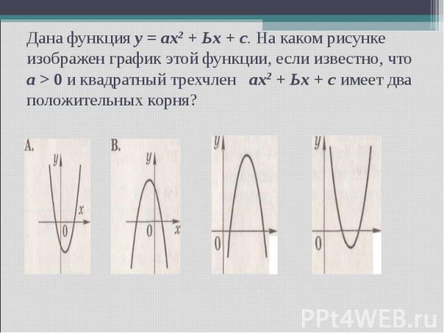 Дана функция у = ах2 + Ьх + с. На каком рисунке изображен график этой функции, если известно, что а > 0 и квадратный трехчлен ах2 + Ьх + с имеет два положительных корня?
