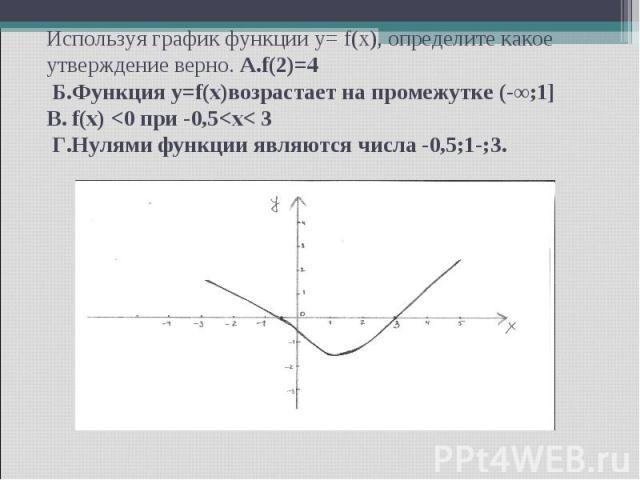 Используя график функции y= f(x), определите какое утверждение верно. А.f(2)=4 Б.Функция y=f(x)возрастает на промежутке (-∞;1] В. f(x)
