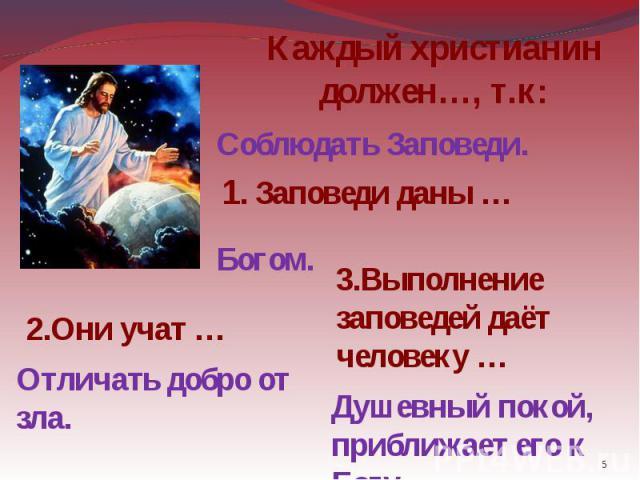 Каждый христианин должен…, т.к: Соблюдать Заповеди. 1. Заповеди даны … 2.Они учат … Отличать добро от зла. 3.Выполнение заповедей даёт человеку … Душевный покой, приближает его к Богу.