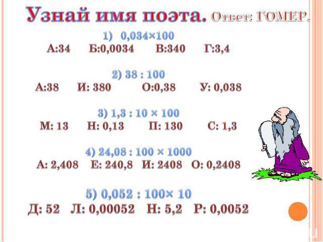 Узнай имя поэта. Ответ: ГОМЕР. 0,034×100 А:34 Б:0,0034 В:340 Г:3,4 2) 38 : 100 А:38 И: 380 О:0,38 У: 0,038 3) 1,3 : 10 × 100 М: 13 Н: 0,13 П: 130 С: 1,3 4) 24,08 : 100 × 1000 А: 2,408 Е: 240,8 И: 2408 О: 0,2408 5) 0,052 : 100× 10 Д: 52 Л: 0,00052 Н:…