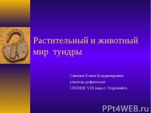 Растительный и животный мир тундры Савенко Елена Владимировна учитель-дефектолог