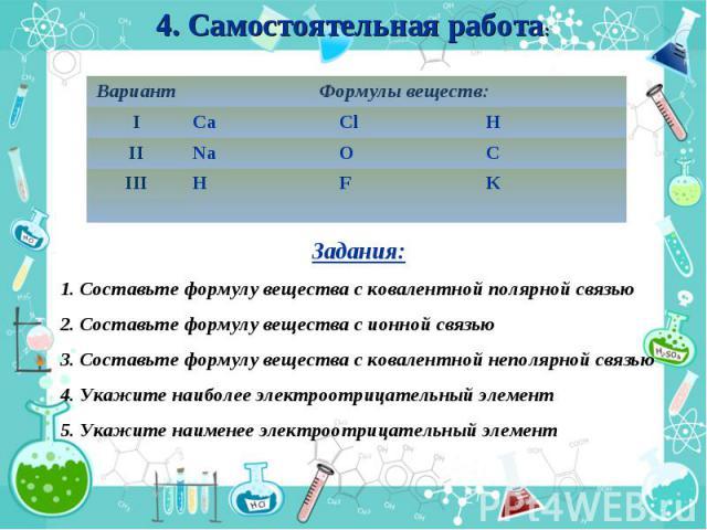 4. Самостоятельная работа: Задания: 1. Составьте формулу вещества с ковалентной полярной связью 2. Составьте формулу вещества с ионной связью 3. Составьте формулу вещества с ковалентной неполярной связью 4. Укажите наиболее электроотрицательный элем…