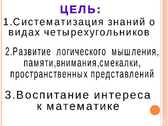 ЦЕЛЬ: 1.Систематизация знаний о видах четырехугольников 2.Развитие логического мышления, памяти,внимания,смекалки, пространственных представлений 3.Воспитание интереса к математике