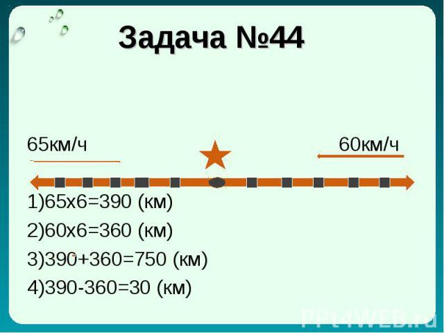 Задача №44 65км/ч 60км/ч 1)65x6=390 (км) 2)60x6=360 (км) 3)390+360=750 (км) 4)390-360=30 (км)