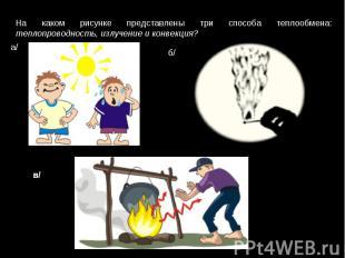 На каком рисунке представлены три способа теплообмена: теплопроводность, излучен