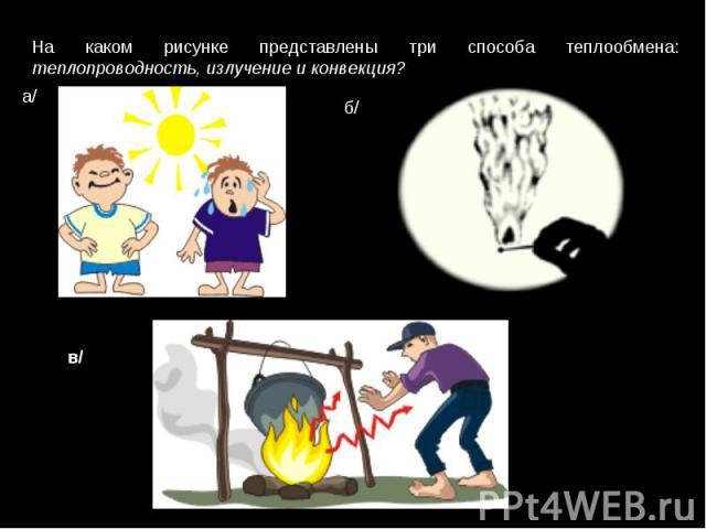 На каком рисунке представлены три способа теплообмена: теплопроводность, излучение и конвекция?