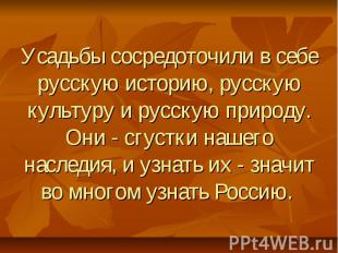Усадьбы сосредоточили в себе русскую историю, русскую культуру и русскую природу