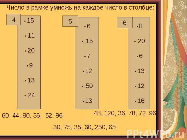 Число в рамке умножь на каждое число в столбце: 60, 44, 80, 36, 52, 96 48, 120, 36, 78, 72, 96 30, 75, 35, 60, 250, 65