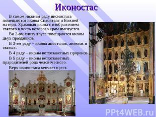 Иконостас В самом нижнем ряду иконостаса помещаются иконы Спасителя и Божией мат