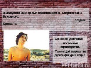 В молодости Виктор был поклонником М. Боярского и В. Высоцкого, позднее Брюса Ли