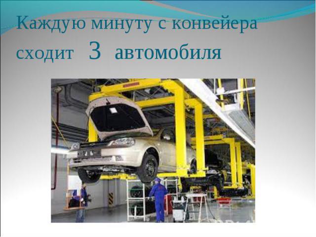 Каждую минуту с конвейера сходит 3 автомобиля