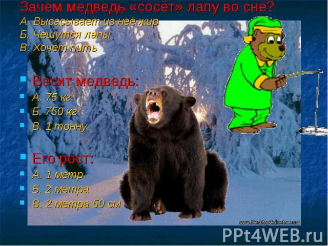 Зачем медведь «сосёт» лапу во сне? А. Высасывает из неё жир Б. Чешутся лапы В. Хочет пить Весит медведь: А. 75 кг Б. 750 кг В. 1 тонну Его рост: А. 1 метр Б. 2 метра В. 2 метра 50 см
