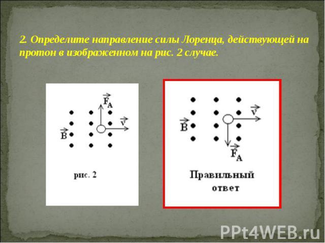2. Определите направление силы Лоренца, действующей на протон в изображенном на рис. 2 случае.