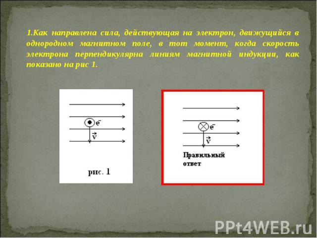 Как направлена сила, действующая на электрон, движущийся в однородном магнитном поле, в тот момент, когда скорость электрона перпендикулярна линиям магнитной индукции, как показано на рис 1.