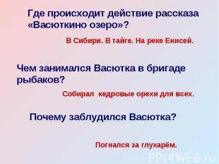 Где происходит действие рассказа «Васюткино озеро»? В Сибири. В тайге. На реке Е