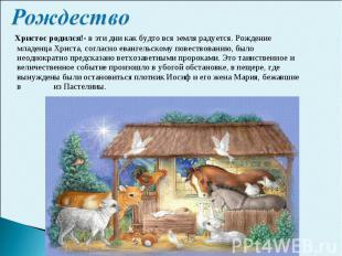 Рождество Христос родился!- в эти дни как будто вся земля радуется. Рождение мла