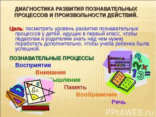 Диагностика развития познавательных процессов и произвольности действий. Цель: п