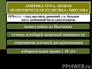 АМЕРИКА 1970-х. «НОВАЯ ЭКОНОМИЧЕСКАЯ ПОЛИТИКА» НИКСОНА 1970-е г.г. – спад массов