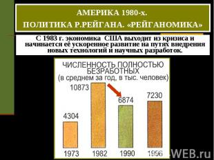 АМЕРИКА 1980-х. ПОЛИТИКА Р.РЕЙГАНА. «РЕЙГАНОМИКА» С 1983 г. экономика США выходи
