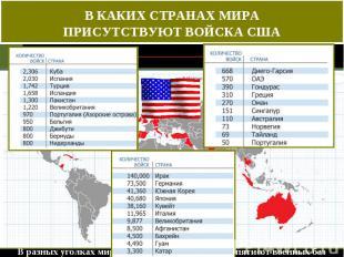 В КАКИХ СТРАНАХ МИРА ПРИСУТСТВУЮТ ВОЙСКА США В разных уголках мира было оборудов