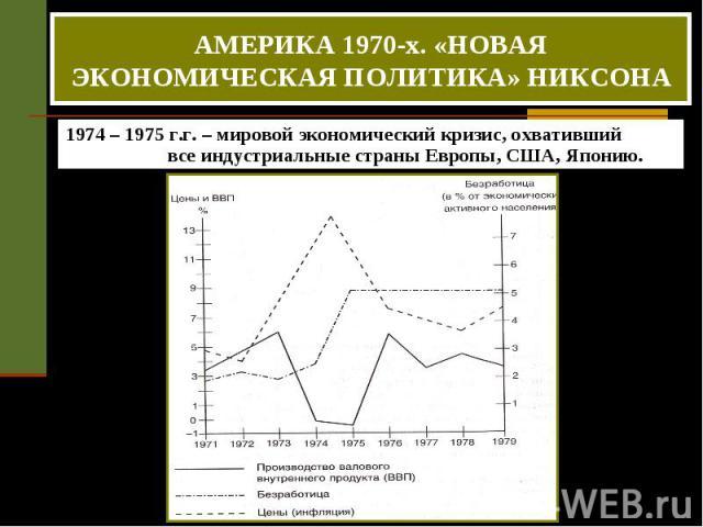 АМЕРИКА 1970-х. «НОВАЯ ЭКОНОМИЧЕСКАЯ ПОЛИТИКА» НИКСОНА 1974 – 1975 г.г. – мировой экономический кризис, охвативший все индустриальные страны Европы, США, Японию.