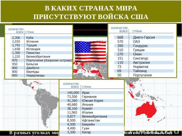 В КАКИХ СТРАНАХ МИРА ПРИСУТСТВУЮТ ВОЙСКА США В разных уголках мира было оборудовано свыше пятисот военных баз США.
