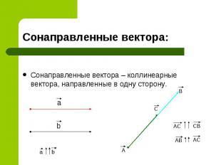 Сонаправленные вектора: Сонаправленные вектора – коллинеарные вектора, направлен