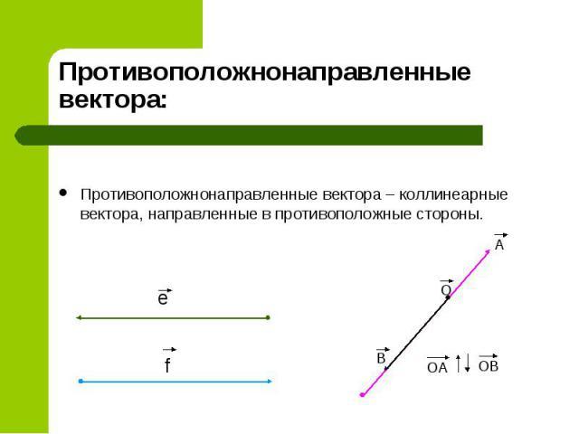 Противоположнонаправленные вектора: Противоположнонаправленные вектора – коллинеарные вектора, направленные в противоположные стороны.