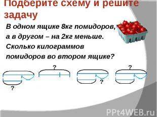Подберите схему и решите задачу В одном ящике 8кг помидоров, а в другом – на 2кг