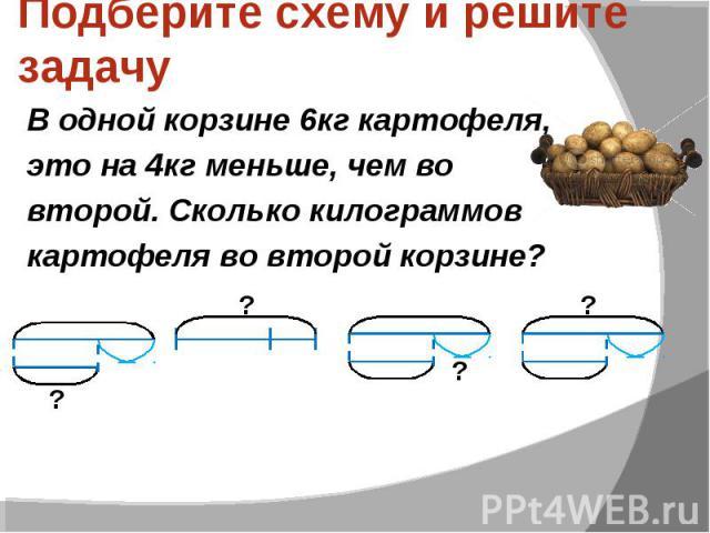 Подберите схему и решите задачу В одной корзине 6кг картофеля, это на 4кг меньше, чем во второй. Сколько килограммов картофеля во второй корзине?