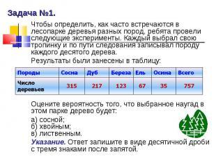 Задача №1. Чтобы определить, как часто встречаются в лесопарке деревья разных по