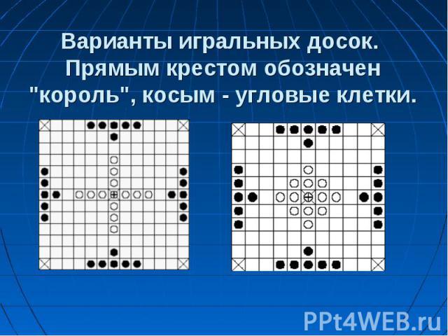 Варианты игральных досок. Прямым крестом обозначен