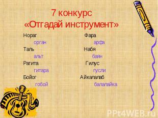 7 конкурс «Отгадай инструмент» Нораг Фара орган арфа Таль Набя альт баян Рагита